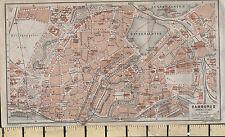1925 GERMAN MAP ~ HAMBURG CITY PLAN INNER ~ STATIONS CHURCHES PARKS GARDENS