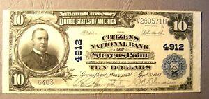 1902 (SERIES) $10 DOLLAR CITIZENS NATIONAL BANK STEVENS POINT,WI AU+ - BEST!!!