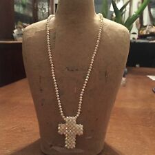 Original Svarowski Crystal AB Coated White Cross Necklace Finish 925 Sterling S