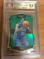 2015-16 KARL ANTHONY TOWNS 9.5 BGS SELECT PRIZMS GREEN ROOKIE RC 5/5  #136