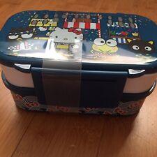 NIB Hello Kitty BENTO LUNCH BOX Picnic Container with Cutlery Set Blue Omatsuri