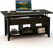 Lift Top Coffee Table w/ Hidden Storage Compartment and Lower Shelf Black Walnut