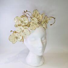Gold Cream Fascinator Orchid Headband Spring Race Wedding Melbourne Cup Handmade