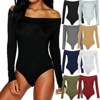 Ladies Womens One Shoulder Plain Crepe Bodysuit Long Sleeve Leotard Top