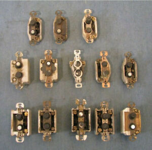 group of 13 assorted vintage push button light switch