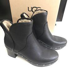 UGG Australia Women Cam II Clog Platform Ankle Boots Black Leather- Sz 9 New NIB