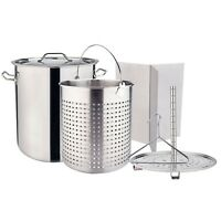 Outdoor Large Stainless Steel Carwfish Seafood Boiling Pot Stock Pot w/ Basket