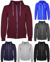 New Men's Boys Plain Fleece Hoodie Zip Up Sweatshirt Jacket size UK S-XL