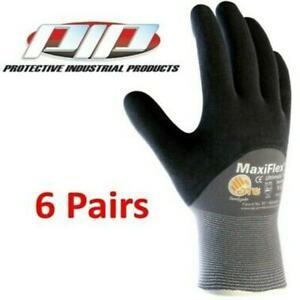 GTek 34-875 MaxiFlex Ultimate Nitrile Foam Coated Gloves, 6 Pair Pack, Pick Size