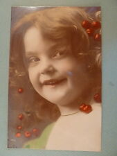 RPPC Pretty Edwardian Little Girl Cherries 1904 Oranotype Real Photo Postcard
