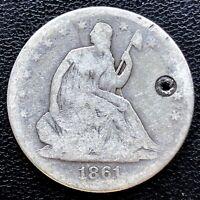 1861 Seated Liberty Half Dollar 50c Nice Grade VG Det. #20640