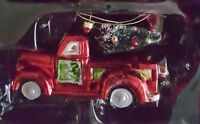 Vintage Red Truck with Tree Glass Christmas Hand Crafted Ornament