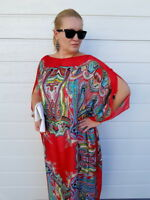 NEW Carnival RED SILK Kaftan Plus Size Maxi Beach Caftan Resort Wear