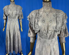 New listing Vintage Edwardian Eyelet Embroidery Garland Bows Dove Gray Cotton Dress Tea Gown