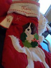 "Pottery Barn Kids St. Bernard Christmas stocking mono ""Karina"" New"