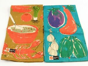 Vtg Vera Neumann Linen Towels Lobster, Veggies And Herbs x2 Original Tags J119