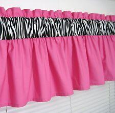 3 inch wide rod pocket ~ Solid Pink & Zebra Print Valance Window Curtain Topper