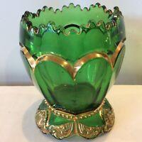 Antique EAPG Riverside Empress Guilded Emerald Green Spooner Bowl Dish Scalloped