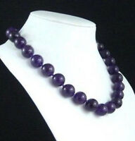 """Natural 10mm Purple Amethyst Gemstone Round Beads Necklace 18"""" AAA"""