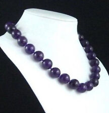 """Natural!10mm Purple Amethyst Gemstone Beads Necklace 18""""AAA"""