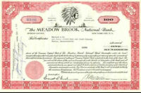 The Meadow Brook National Bank Stock Certificate