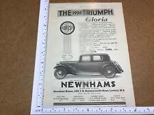 Triumph Gloria saloon vintage classic advert 1933 motor car