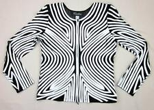 Cartise International Black White Ribbon Full Zip Evening Top Size 12 MINT!