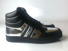Gucci High Top Silver Black MEN Leather Sneakers Size 07G