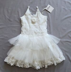 NWT JOTTUM GIRLS SWAROSE OFF WHITE TIERED DRESS 3- 4 yrs 4Y SZ 104 OOH LA LA!