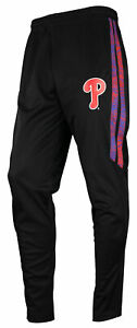 Zubaz MLB Baseball Men's Philadelphia Phillies Static Stripe Black Track Pants