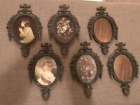 Vintage Antique Small Cast Metal Ornate Picture Frames Made in Italy ~ Set of 6