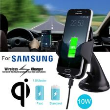 2 in 1 Qi Fast Wireless Car Charger Dock Phone Mount for Samsung S8 S7 S6 Note 5