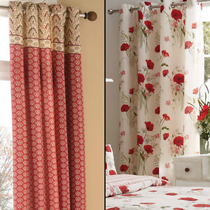 Catherine Lansfield Floral Red Natural Eyelet Ring Top Fully Lined Curtains