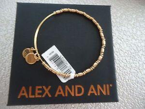 Alex and Ani REED BEADED Rafaelian Gold Finish Bangle New W/ Tag Card & Box