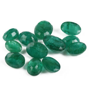 Natural Zambian Green Emerald Faceted Oval Cut Loose Gemstone 200 Ct./12 Pcs Lot
