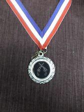 """crossed pistol medal 1 3/4"""" diameter award with neck drape"""