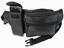 Extra Large Leather Bumbags Soft Black Leather Bum Bag Up To 52 inch WAIST Size