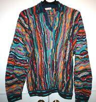 Vintage Coogi Australia Mercerised Sweater Textured Bright Colors Men XL Collar