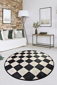 Non-slip Circle Rugs living room 100cm Round Mat Washable Animal Print Carpet XX