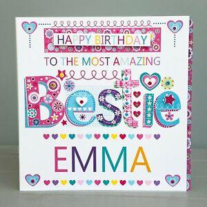 BESTIE birthday card personalised-Special BESTIE card for a best friend