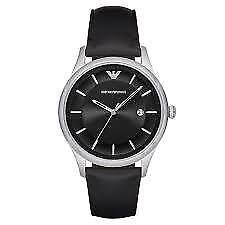 Emporio Armani AR11020 Men's Watch Black Leather Stainless Steel- NEW- US Seller