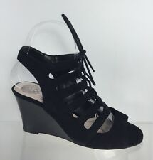 Vince Camuto Womens Black Leather Wedges 6 B