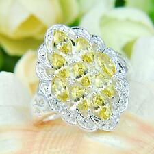 LARGE YELLOW TOPAZ RING PLATINUM CRYSTAL RING SIZE 8 #R162
