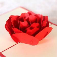 10PCS 3d Rose Greeting Card Pop Up Paper Cut Postcard Valentine Birthday Wedding
