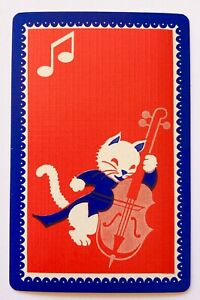 Vintage Swap/Playing Card - SWEET CAT / KITTEN PLAYING BASS - Mint