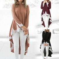 Womens Long Sleeve Baggy Asymmetric Hem Tops Blouse Knitted Sweater Shirts BJ