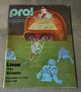 1972 NFL PRO FOOTBALL PROGRAM NEW YORK GIANTS VS DETROIT LIONS @ TIGERS STADIUM