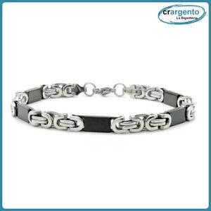 bracciale catena da uomo in acciaio inox color nero a maglie braccialetto per di