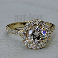 Halo Engagement Ring Colorless Round 7.00 MM Moissanite 10k Solid Yellow Gold 7