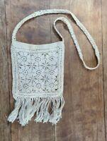 Vintage Handmade Crochet Purse Boho Hippie Crossbody Fringe Lined Festival